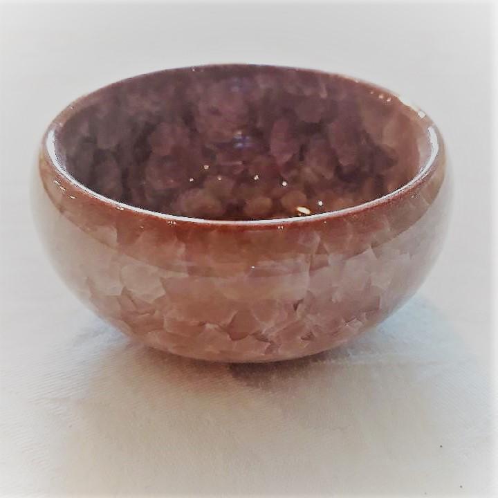 Lyse Lilla lille keramikskål med krakeleret glasur. - Forn Sidr